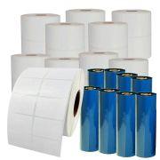20 Rolos de Etiqueta Couchê 40x25 2 Colunas Mercado Full, Zebra + 8 Ribbons