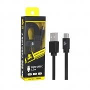 Cabo tipo C + USB A macho - 5GB - 1.20M - preto 018-0038