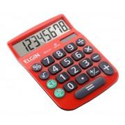 Calculadora Mesa Comercial Escritório 8 Dígitos Elgin Vermelha