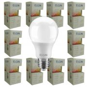 Kit 10 Lampada Led 9w Elgin  Bulbo A60 Inmetro 3000k Branco Quente