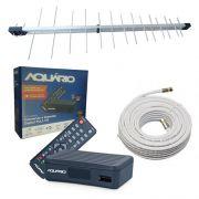 Kit Antena Uhf + Conversor Digital Aquario 4000s + Cabo 15m