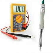 Kit Ferro Soldar Hikari Power + Multimetro Digital Hikari Hm 1001
