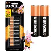 Pilha Duracell Alcalina Pequena AA com 16 Unidades
