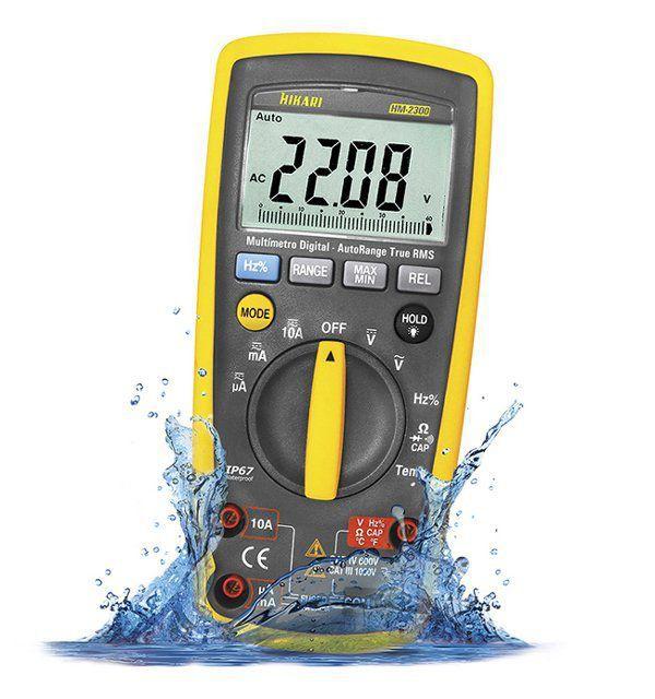 Multímetro Digital Profissional Hikari Hm-2300 True Rms Prova de agua  - EMPORIO K