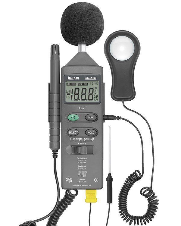 Medidor  4x1 Decibelimetro Luximetro Temperatura Umidade HTM-401 Hikari  - EMPORIO K