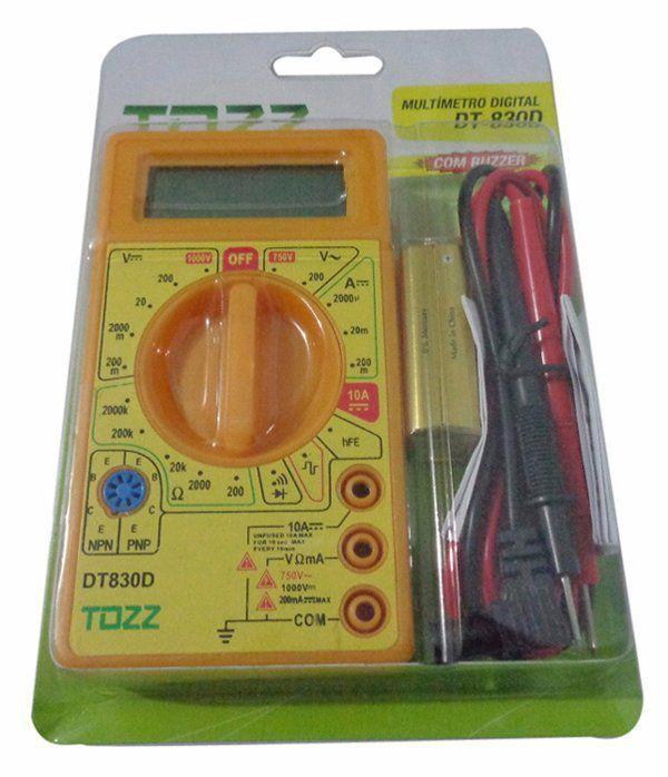 Multímetro Digital Dt-830D Com Ponta De Prova e Buzzer  TOZZ  - EMPORIO K