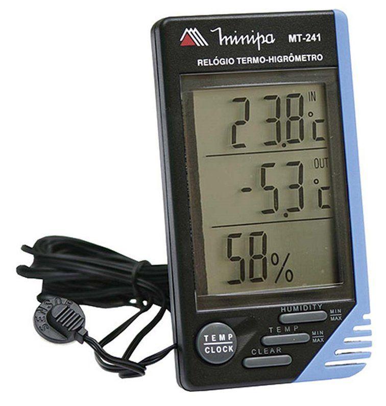 Relógio Termômetro Higrômetro Minipa Mt-241 3x1 Com Sensor Externo  - EMPORIO K