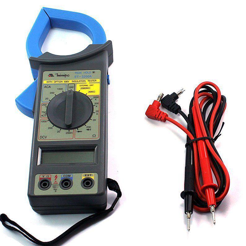 Alicate Amperímetro Digital ET-3200A  Com Adaptador Minipa  - EMPORIO K