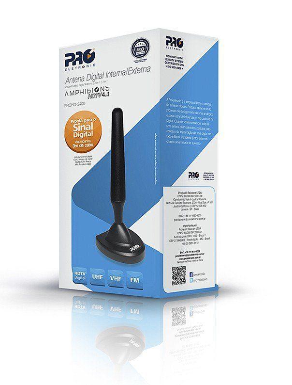 Antena Digital interna HD Digital 360º Proeletornic Prohd-2400 com imã  - EMPORIO K