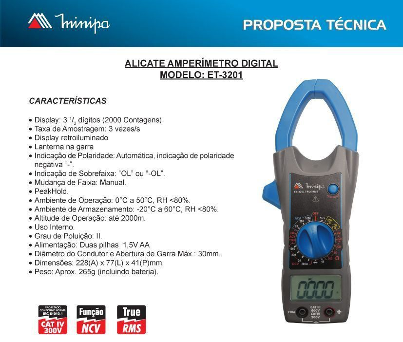 Alicate Amperimetro Digital Et-3201 Minipa True Rms Cat 4  - EMPORIO K