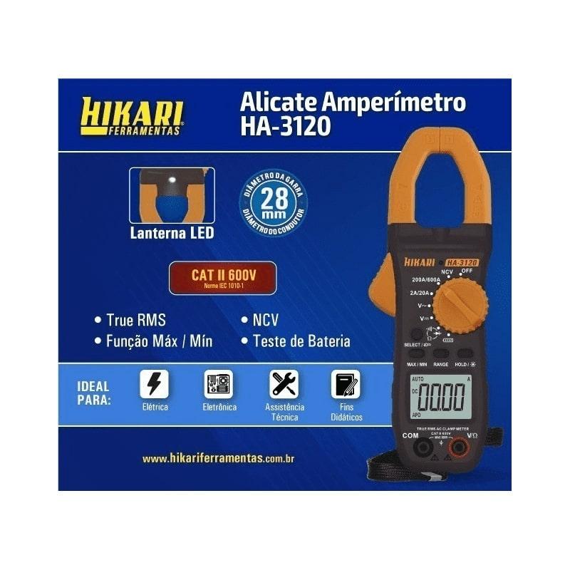 Alicate Amperímetro True Rms Ncv Bolsa Led Ha-3120 Hikari  - EMPORIO K