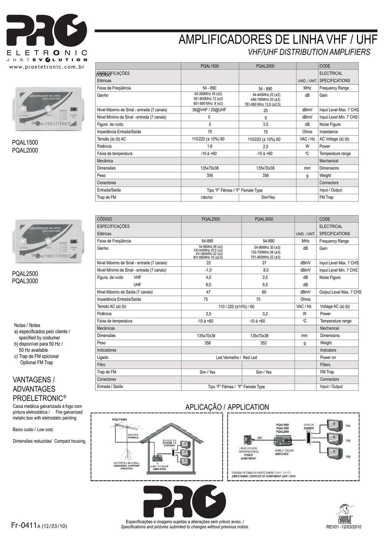 Amplificador De Linha Vhf/ Uhf/ Catv 20 Db Bivolt PQAL-2000  - EMPORIO K