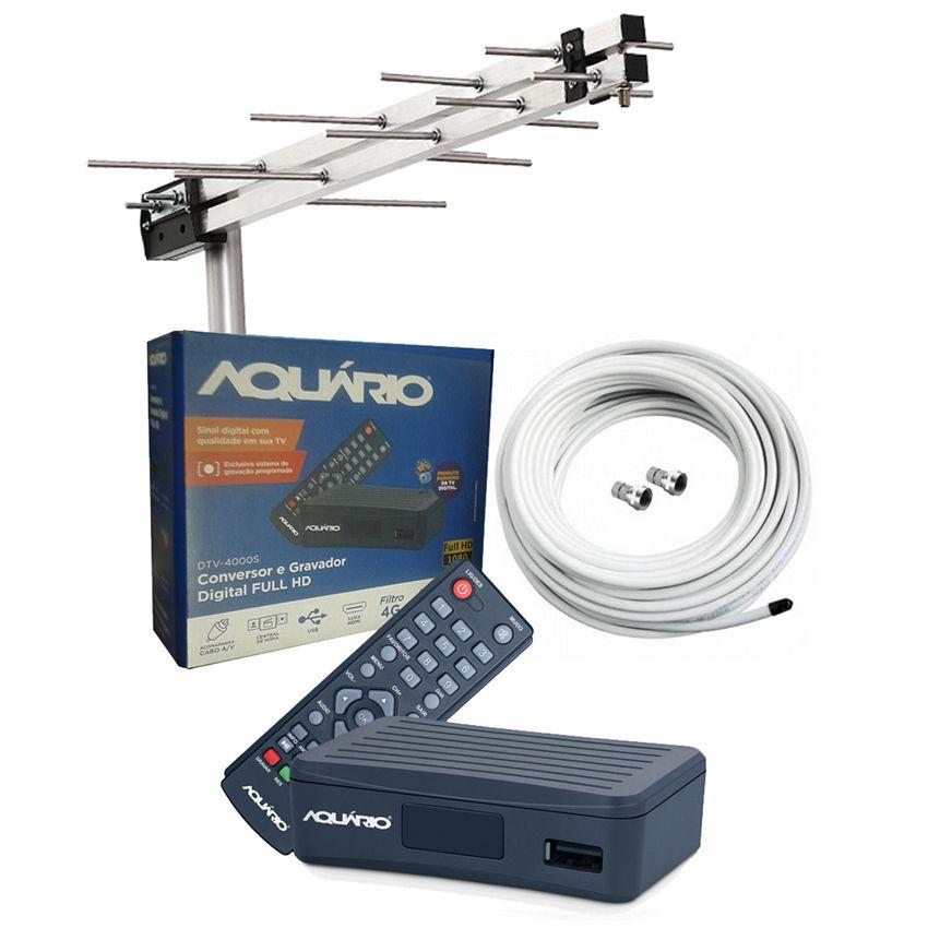 Antena Uhf + Conversor Digital Aquario Dtv 4000s + Cabo 15 M  - EMPORIO K