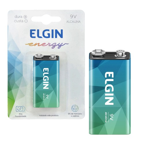 Bateria 9V alcalina Elgin  - EMPORIO K
