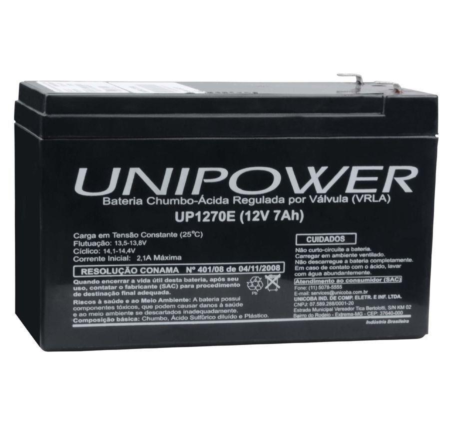 Bateria Selada Unipower VRLA 12V 7Ah UP1270E  - EMPORIO K