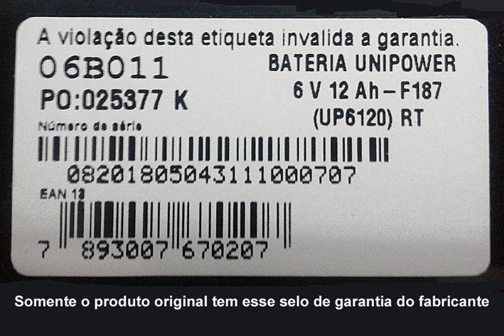 Bateria Selada Unipower VRLA 6 V  12Ah modelo UP6120  - EMPORIO K