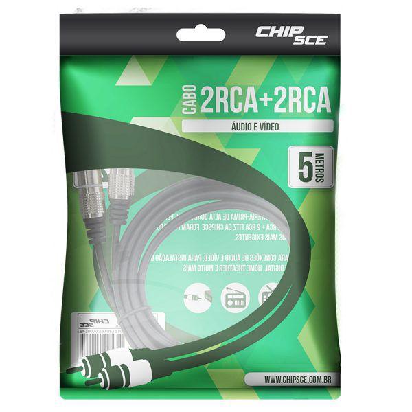 Cabo RCA Fitz 5 Metros 2 + 2 RCA Plug Metal Pix 018-0742  - EMPORIO K