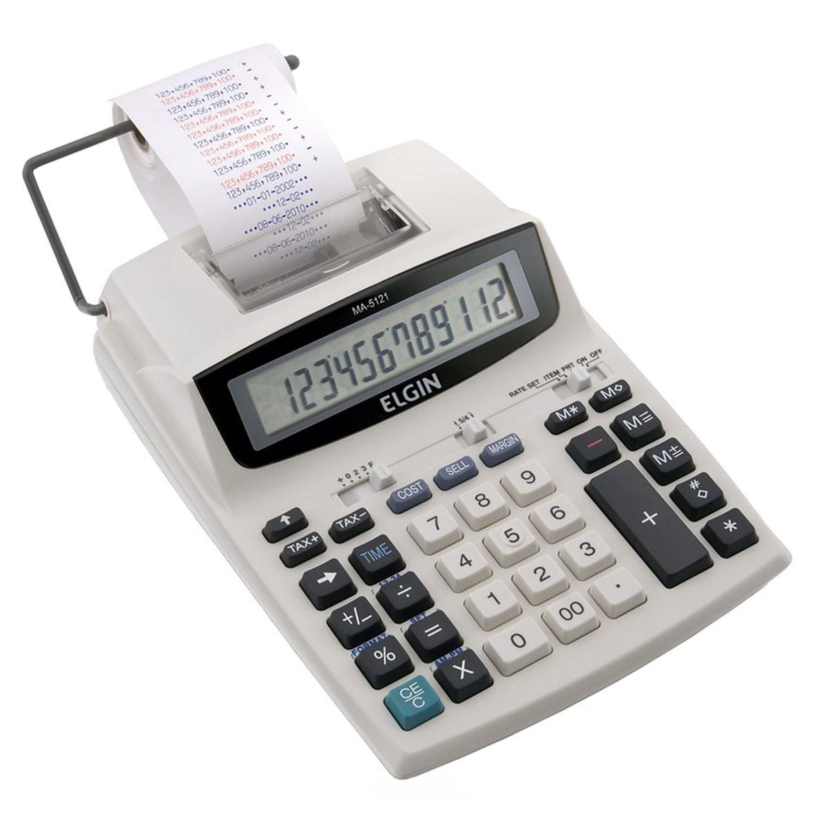 Calculadora Com Bobina 12 Dígitos Acompanha Fonte Ma-5121  - EMPORIO K