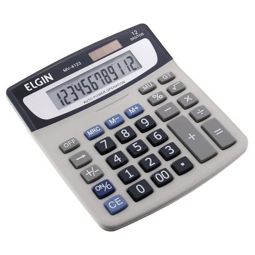Calculadora Mesa 12 Dígitos Solar Bateria Mv 4123 Elgin  - EMPORIO K