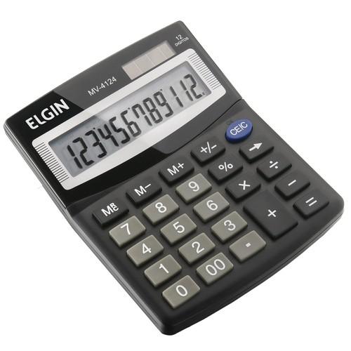 Calculadora Mesa 12 Digitos Solar Bateria Mv-4124 Elgin  - EMPORIO K