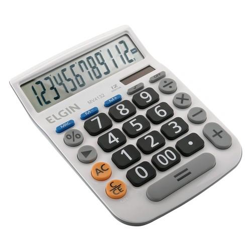 Calculadora Mesa Comercial 12 Dígitos Elgin Branca Mv 4132  - EMPORIO K