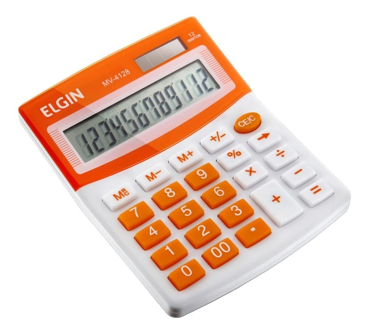 Calculadora Mesa Comercial Escritório 12 Dígitos Elgin Laranja  - EMPORIO K