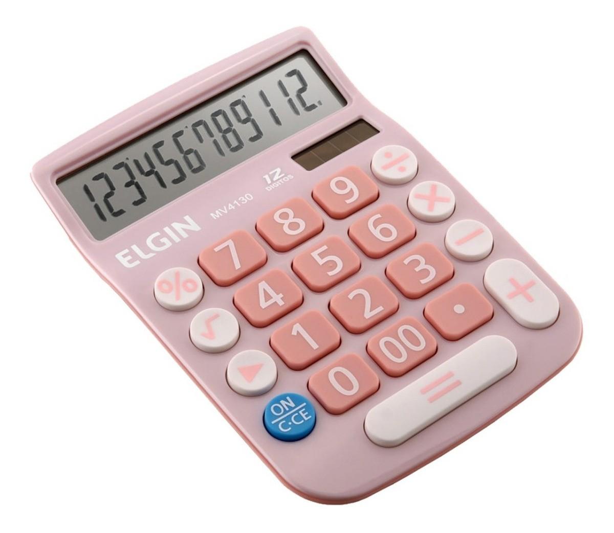 Calculadora Mesa Comercial Escritório 12 Dígitos Elgin Rosa  - EMPORIO K