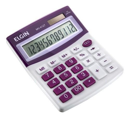 Calculadora Mesa Comercial Escritório 12 Dígitos Elgin Roxa  - EMPORIO K