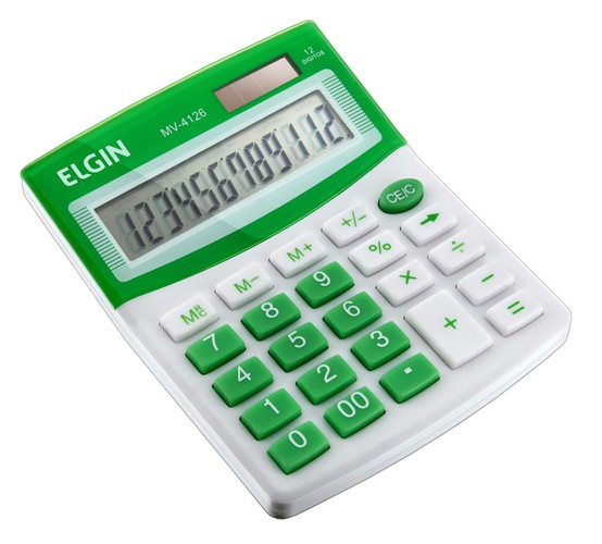 Calculadora Mesa Comercial Escritório 12 Dígitos Elgin Verde  - EMPORIO K