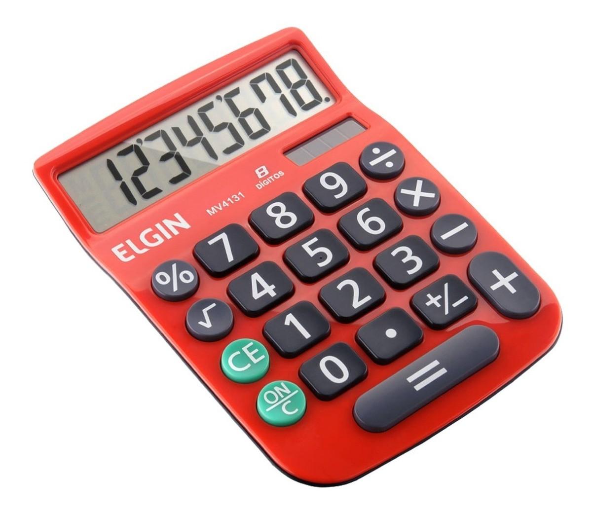 Calculadora Mesa Comercial Escritório 8 Dígitos Elgin Vermelha  - EMPORIO K