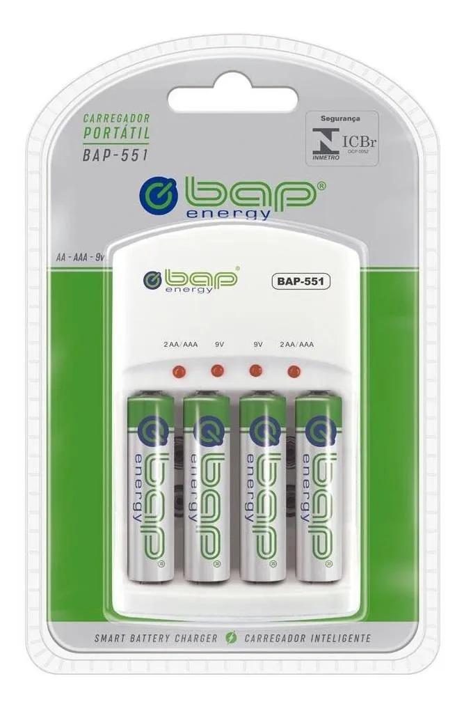 Carregador de Pilhas e Baterias Bap-551 C/ Pilhas  - EMPORIO K