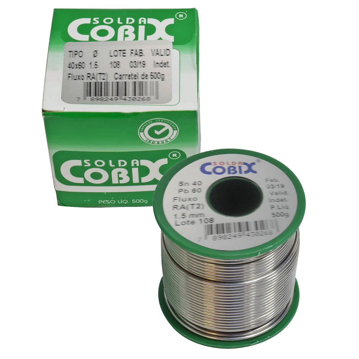Estanho Solda Fluxo Cobix 500g Verde 40x60 1.5mm  - EMPORIO K