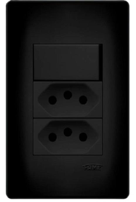 Conjunto 1 interruptor e 2 tomadas 10A Preto Fame  - EMPORIO K