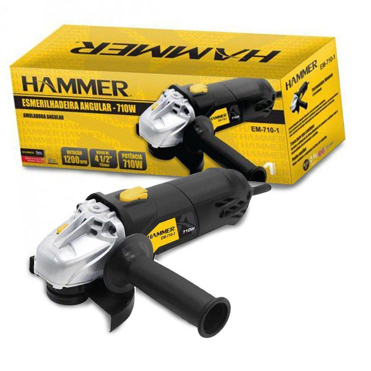 Esmerilhadeira Angular 710 W Rolamentada  Hammer EM-710-1 -110v  - EMPORIO K