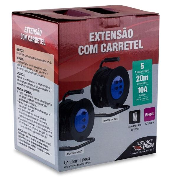 Extensão com Carretel 20m - 10A 5 Tomadas - 3x1,5mm Forceline  - EMPORIO K