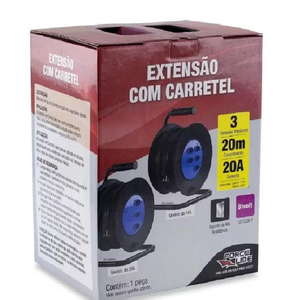 Extensão com Carretel 20m - 20A 3 Tomadas 3x2,5mm Forceline  - EMPORIO K
