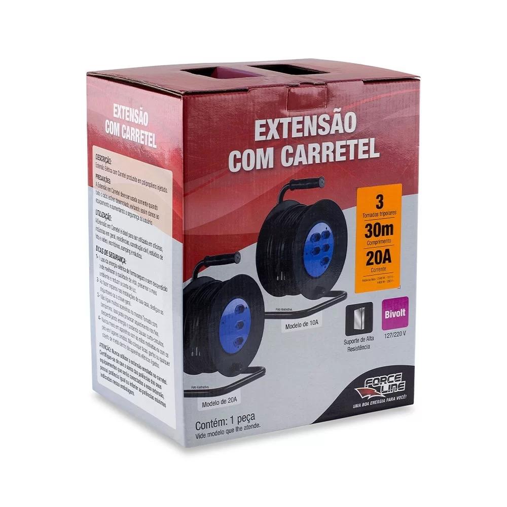 Extensão com Carretel 30m - 20A 3 Tomadas 3x2,5mm Forceline  - EMPORIO K