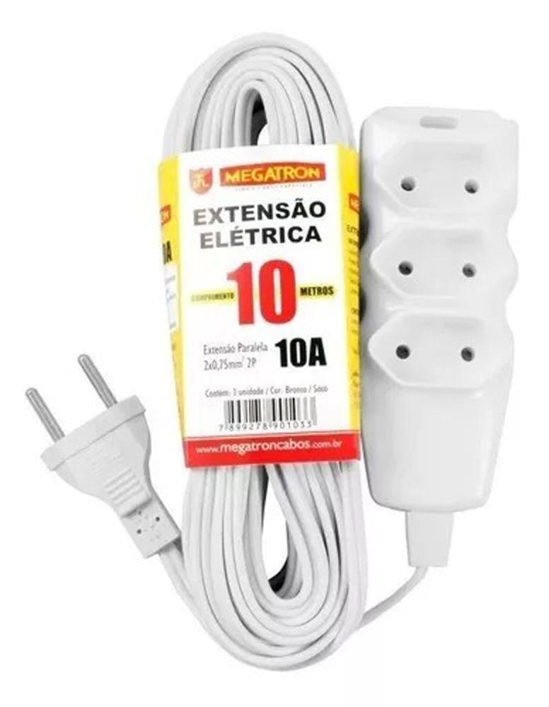 Extensão Elétrica 10 mts  2 Pinos 3 Tomadas 10a Branco Megatron  - EMPORIO K