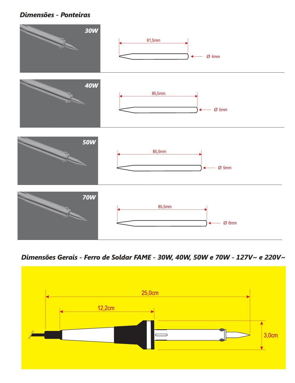 Ferro De Solda Com Suporte 70w Fame 220v Inmetro  - EMPORIO K