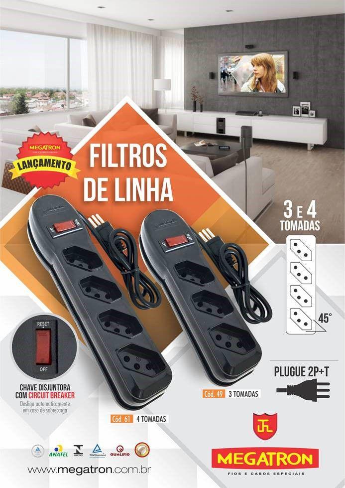 Filtro De Linha 4 Tomadas Megatron Bivolt 10a Inmetro  - EMPORIO K