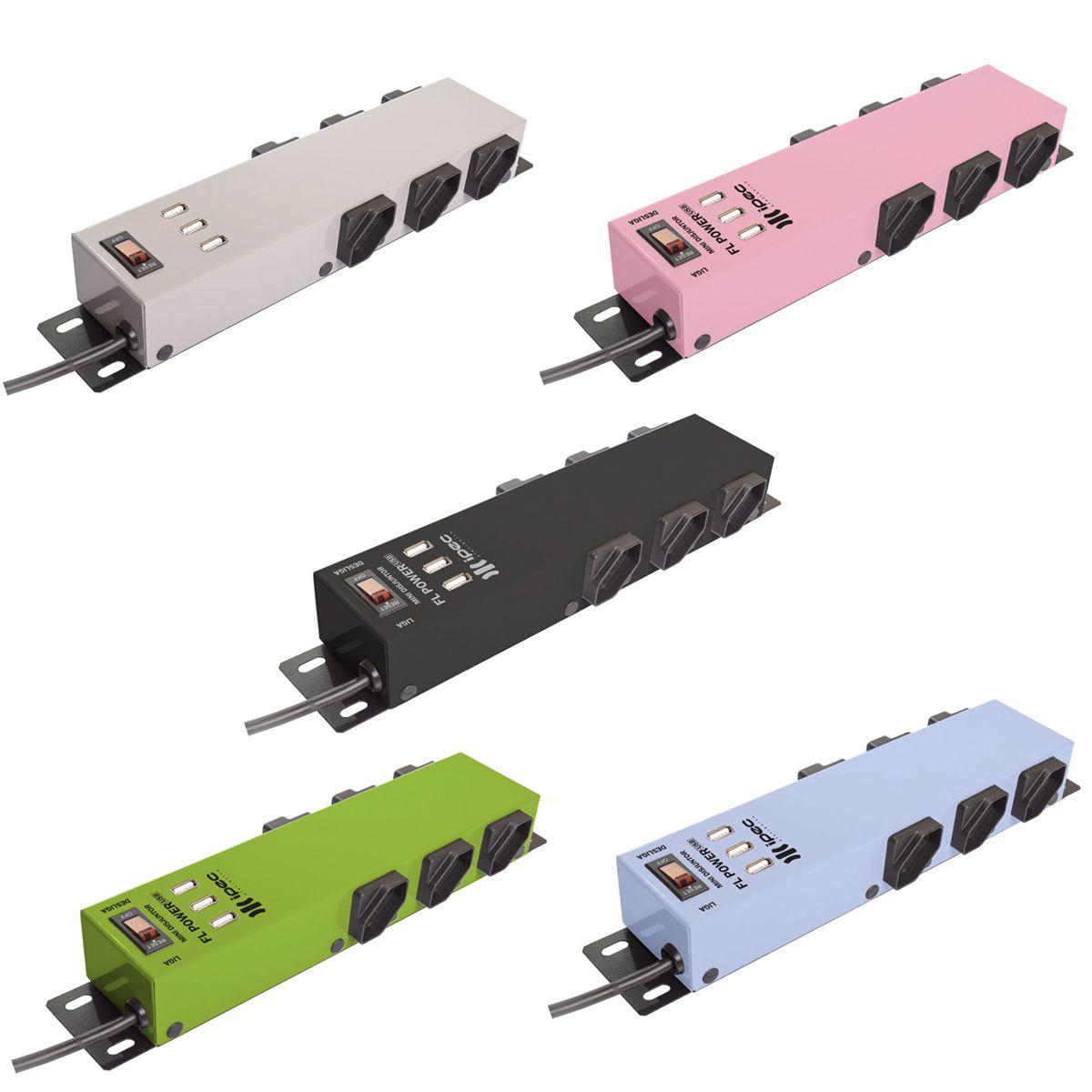 Filtro Linha Metálico  6 Tomadas FL Power Com 3 Entrada USB  IPEC  - EMPORIO K