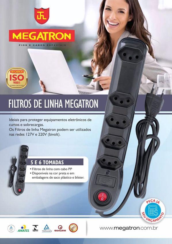 Filtro De Linha 6 Tomadas Megatron Bivolt 10a Inmetro  - EMPORIO K
