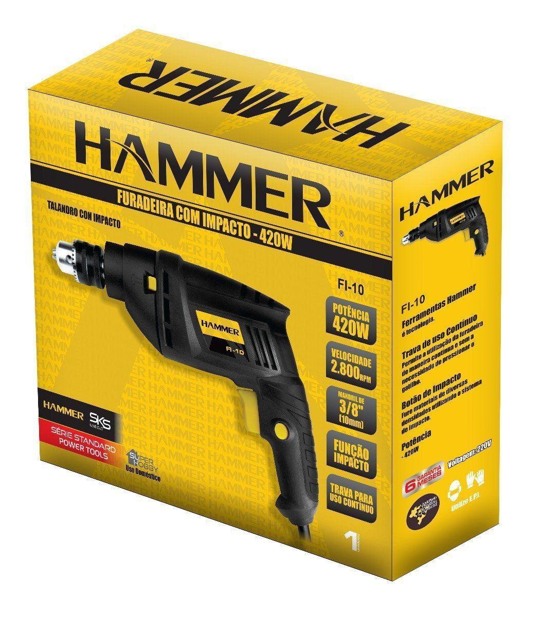 Furadeira Impacto 420w Mandril 3/8 Pol  10MM Fi-10 Hammer  - EMPORIO K