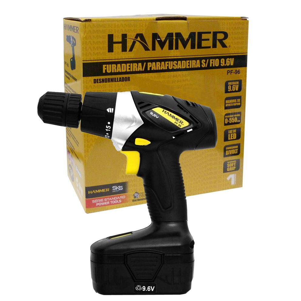 Furadeira e Parafusadeira Sem Fio Bivolt GYPF96 Hammer  - EMPORIO K