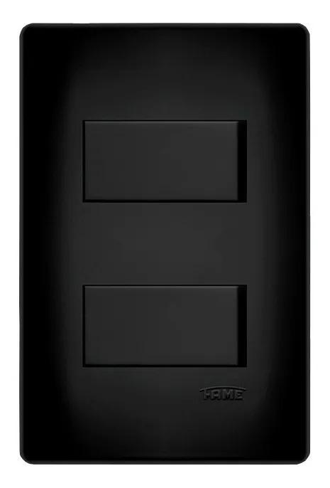 Interruptor Duplo Simples 4x2 Preta Fame  - EMPORIO K