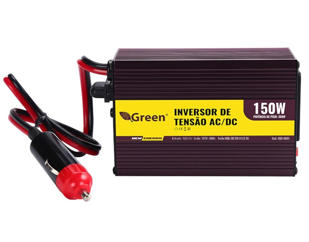 Inversor De Tensão 12v Para 127v 150w 1 Usb Green  - EMPORIO K