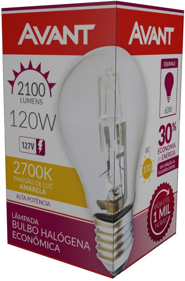 Kit 10 Lampada Bulbo Halogena 2700k 127V 120w Avant  - EMPORIO K