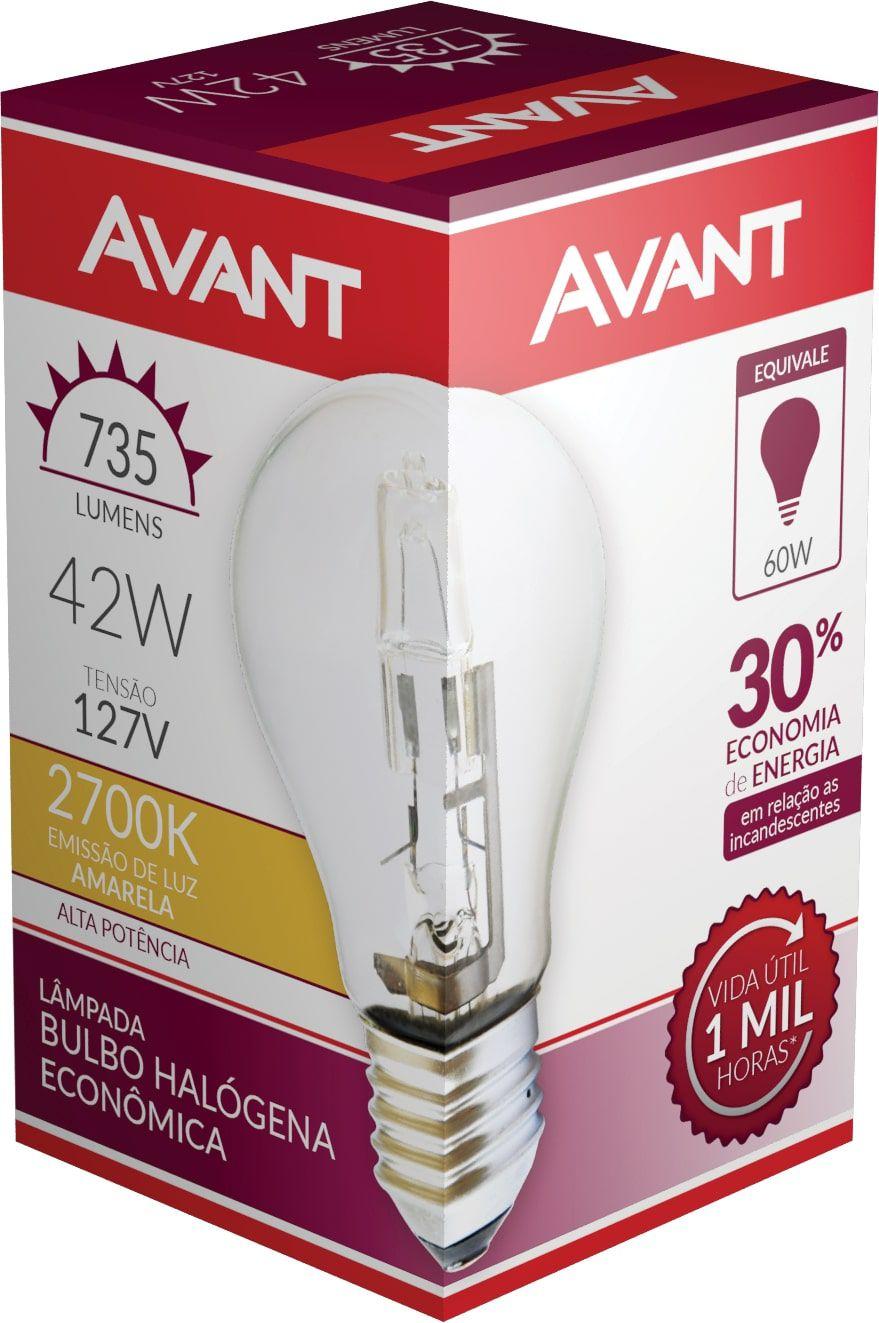 Kit 10 Lampada Bulbo Halogena 2700k 127V 42w Avant  - EMPORIO K