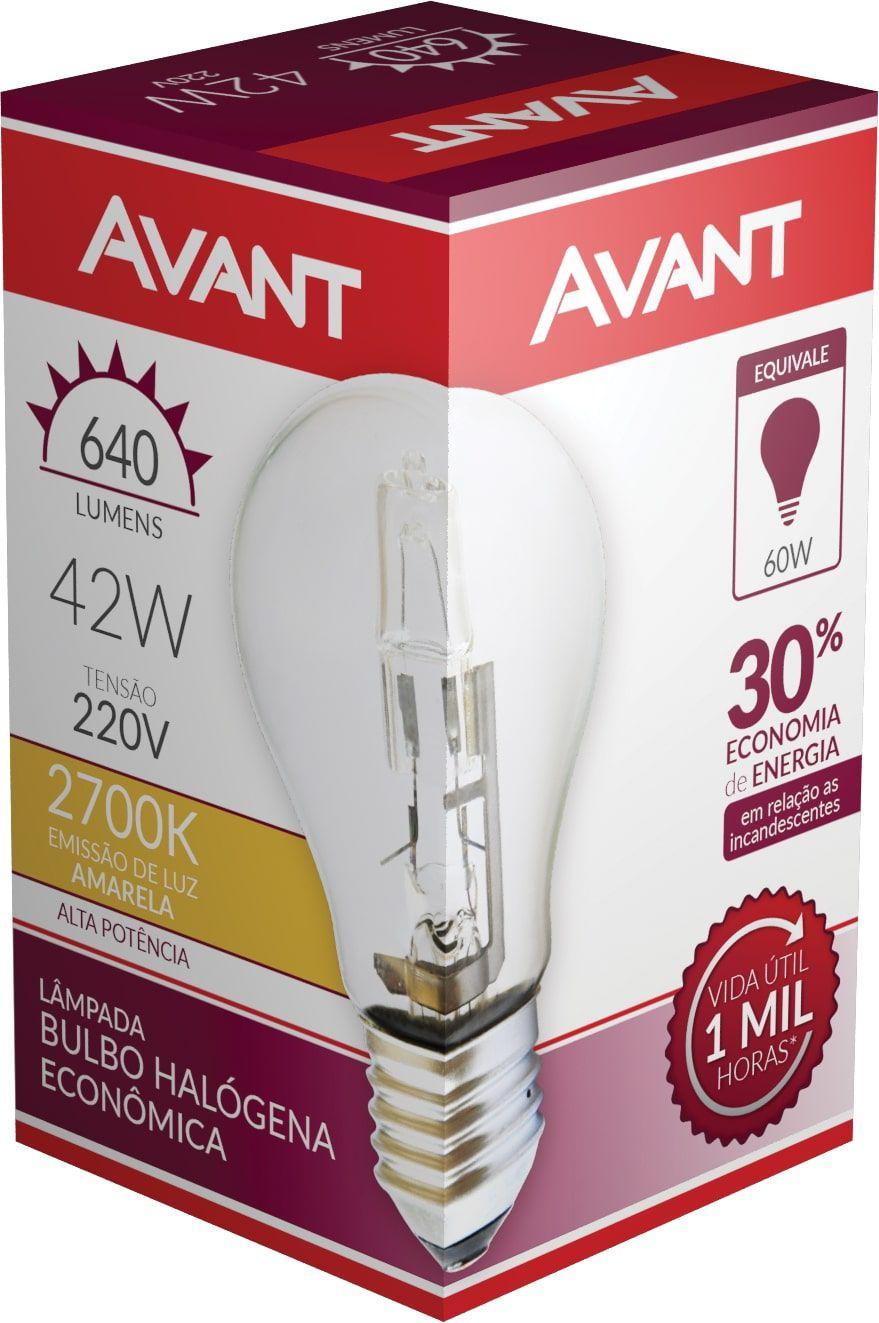 Kit 10 Lampada Bulbo Halogena 2700k 220V 42w Avant  - EMPORIO K