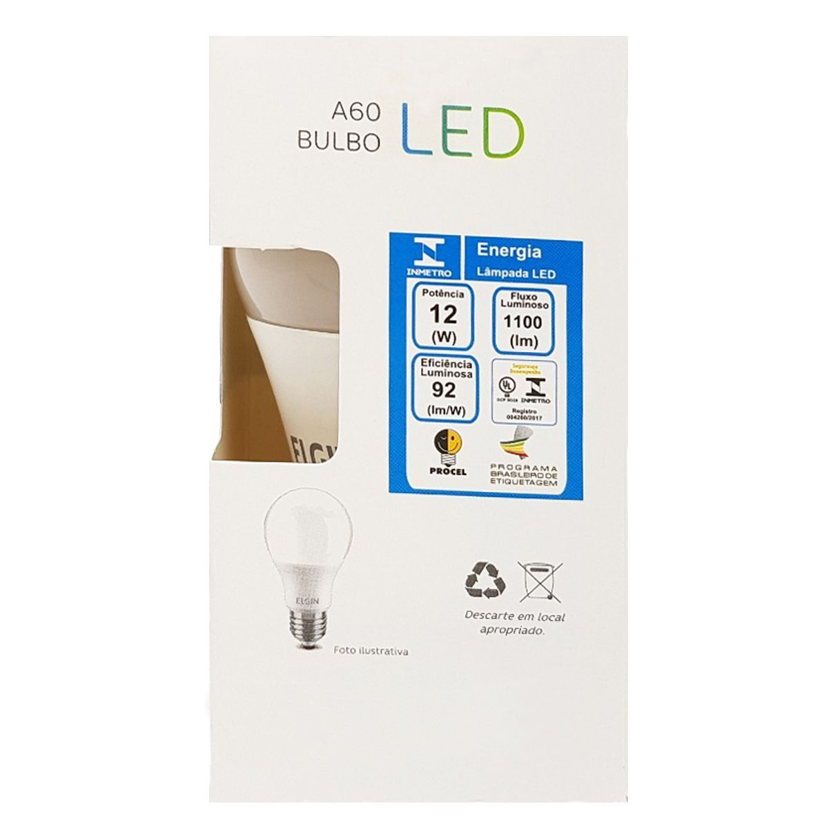 Kit 10 Lampada Led 12w Elgin Bulbo A60 Inmetro 6500k Branco Frio  - EMPORIO K